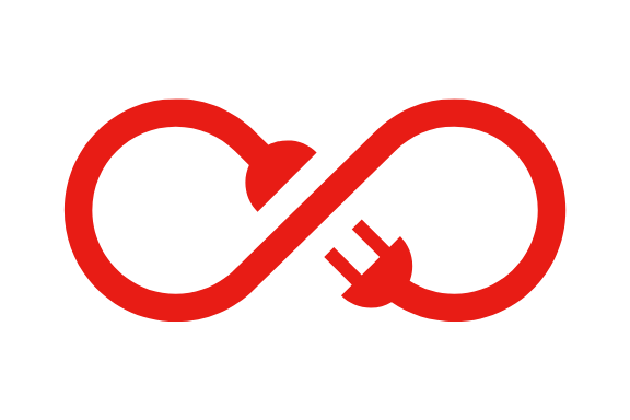 red illustration of a plug in a loop