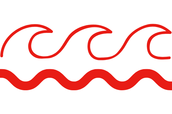 red illustration of waves