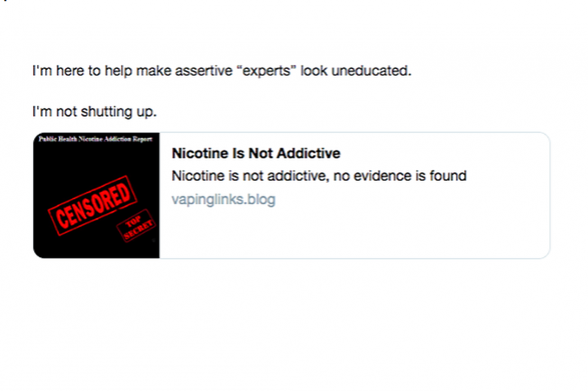 """Example of misinformation spread by a """"bot"""" Twitter account highlighted in the report."""